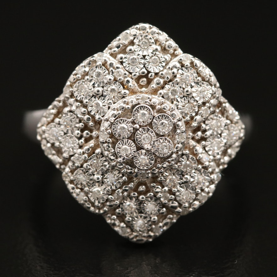 Sterling Silver Illusion Set Diamond Cluster Ring