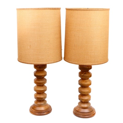Pair of Turned Wood Table Lamps with Burlap Shades