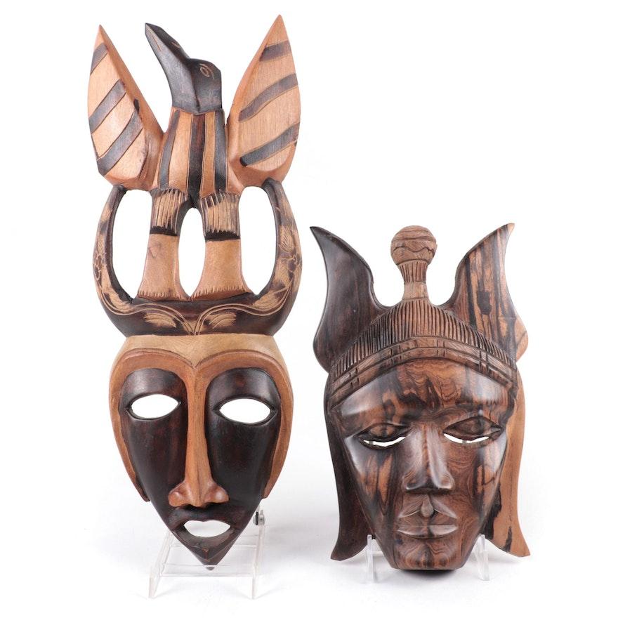 Nigerian Decorative Zebra Wood Mask and Haitian Decorative Wood Mask