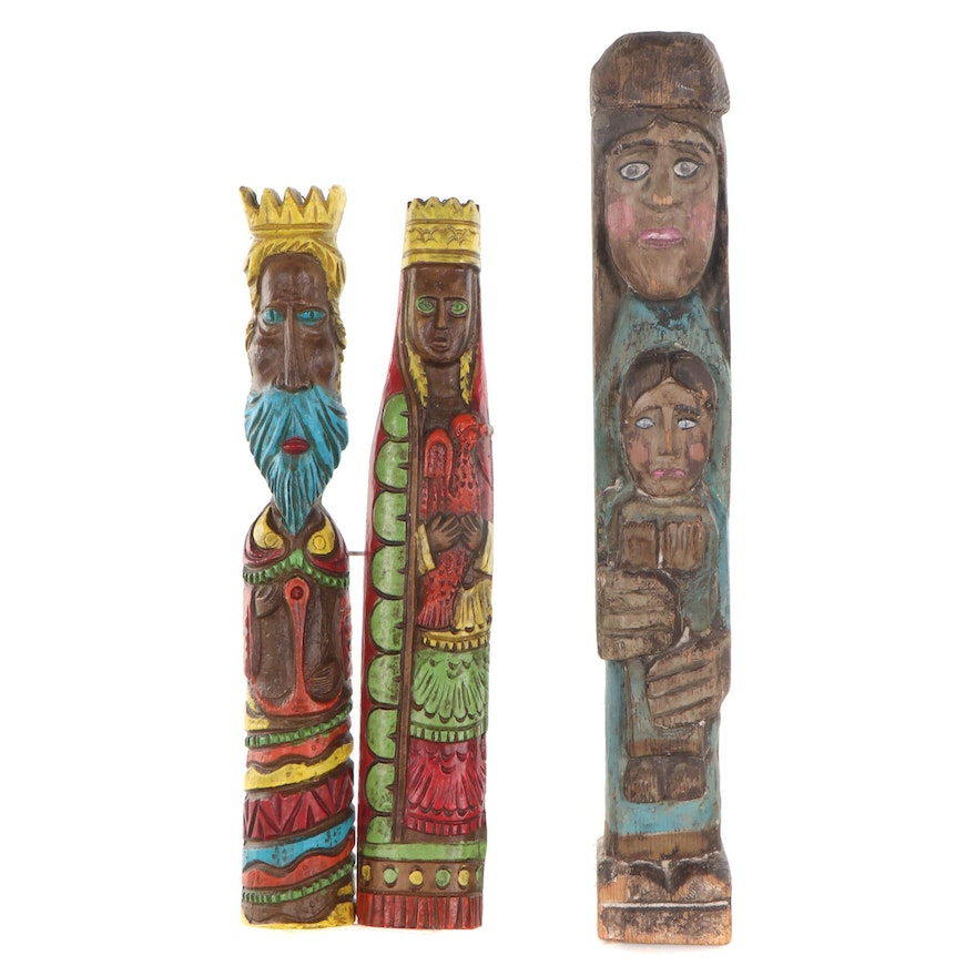 Hand-Painted Carved Wood Wall-Hanging Figural Sculptures