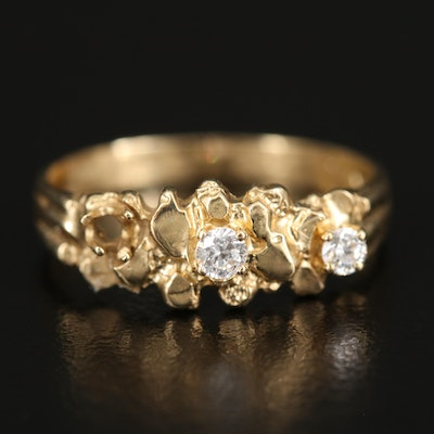 14K Nugget Ring with Cubic Zirconia