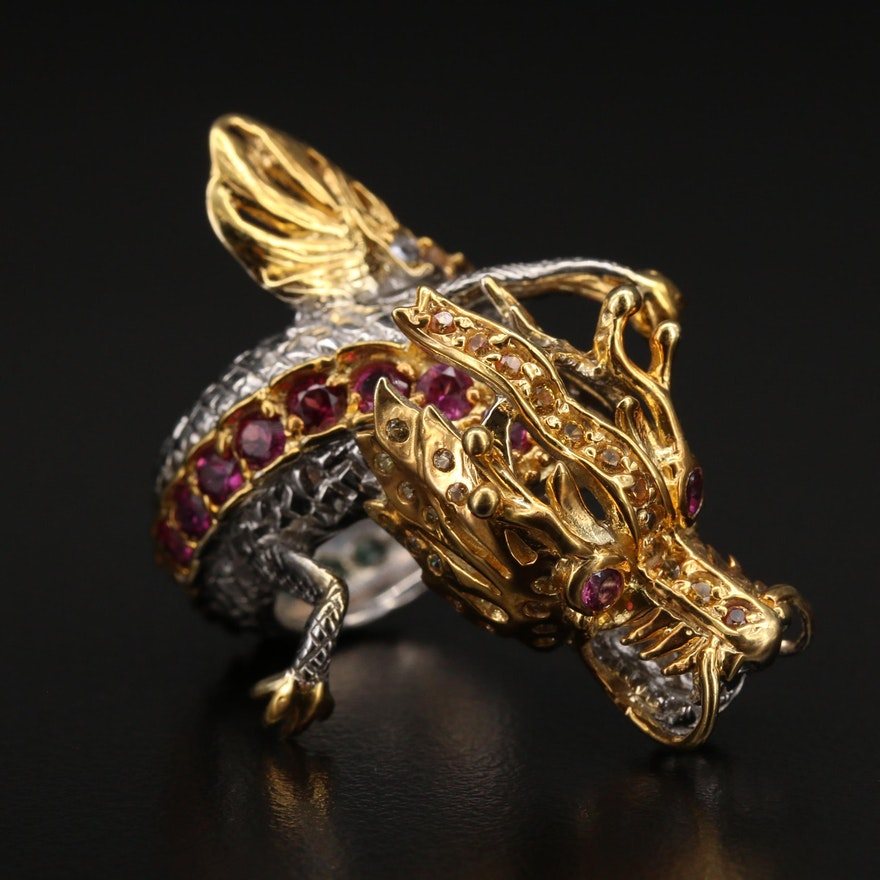 Sterling Articulated Garnet, Tanzanite and Gemstone Dragon Ring