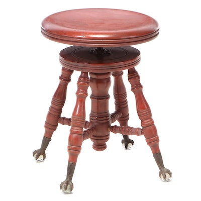 The Charles Parker Co. Late Victorian Adjustable-Height Piano Stool