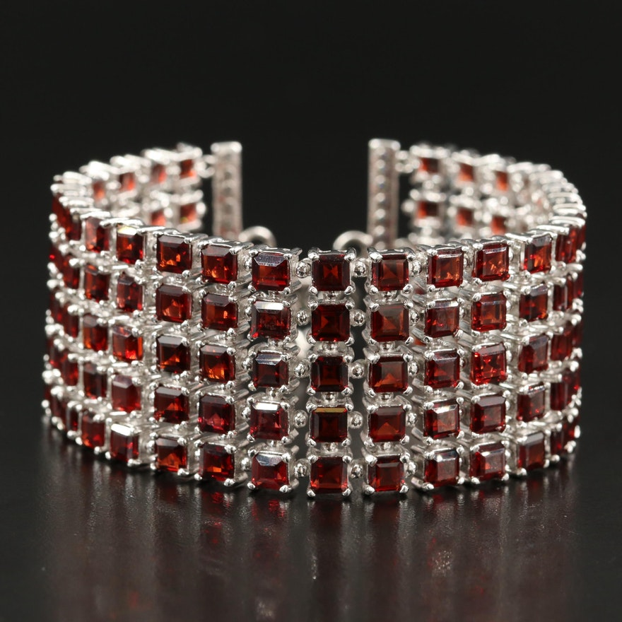 Sterling Garnet Multi-Row Bracelet