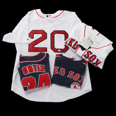 Kevin Youkilis Boston Red Sox Signed MLB Jersey with Schilling and Ortiz Jerseys