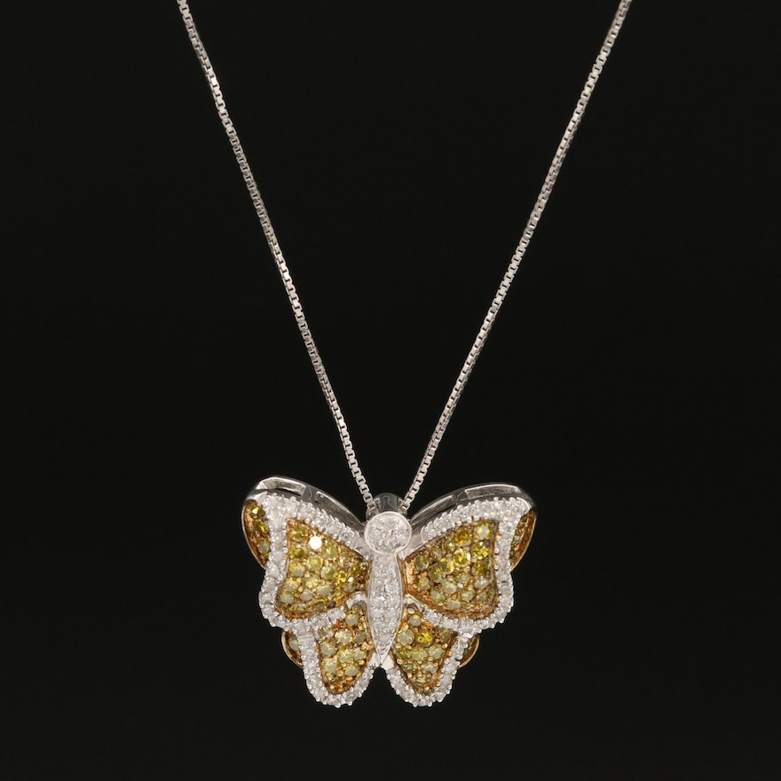 Sterling Silver 1.25 CTW Butterfly Pendant Necklace