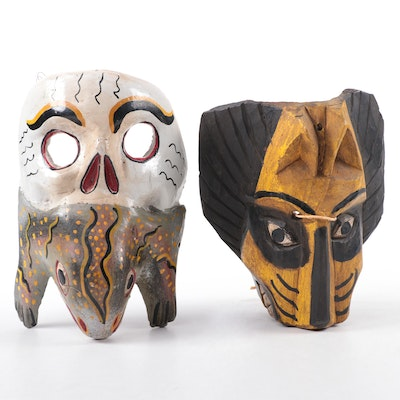 Guatemalan Lion Mask and Mexican Skull/Lizard Wood Mask