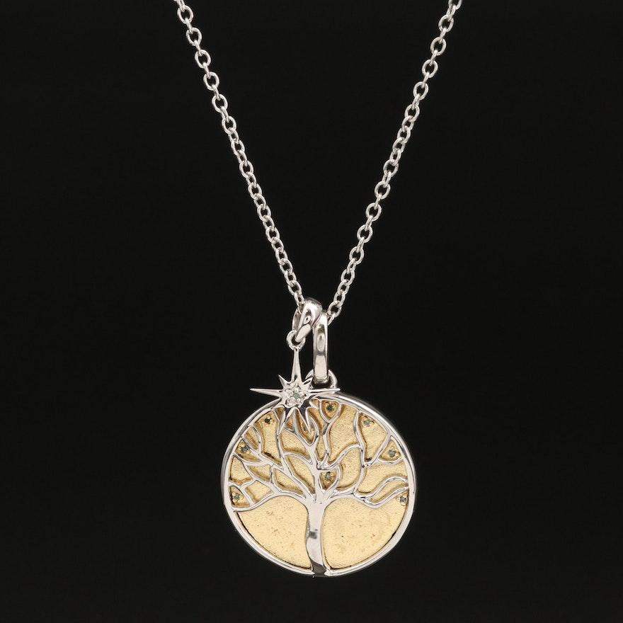 Eva LaRue Sterling Silver Chalcedony and Diamond Pendant Necklace