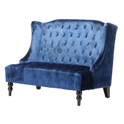 Noble House Home Furnishings Buttoned-Down Wingback Settee