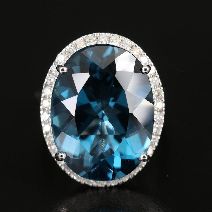 14K 20.63 CT London Blue Topaz Ring with Diamond Halo