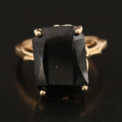 14K Black Onyx Solitaire Ring