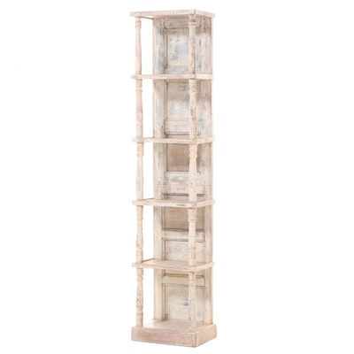 Rustic Paint-Decorated Five-Tier Display Tower