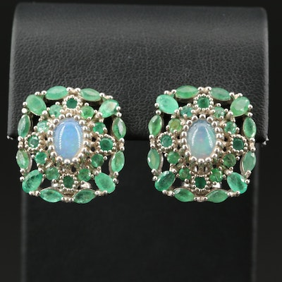 Sterling Opal and Emerald Button Earrings