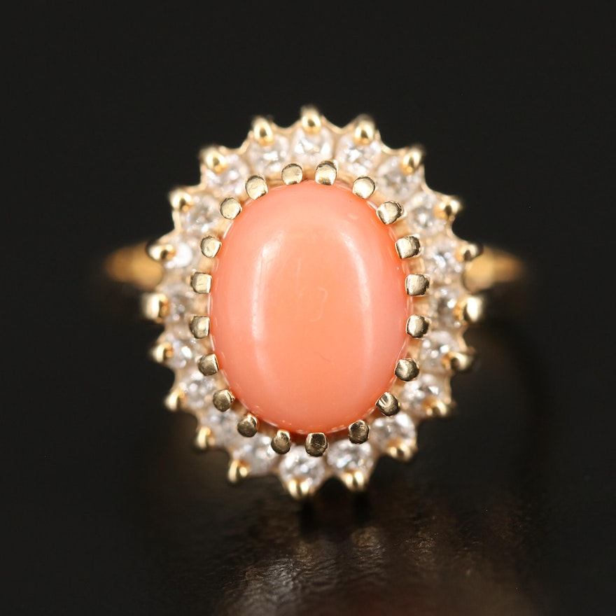 14K Coral Ring with Diamond Halo
