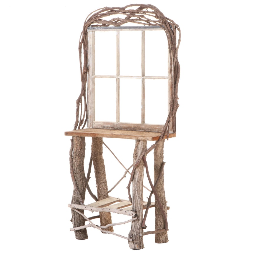 Adirondack Style Twig and Branch Window-Back Table