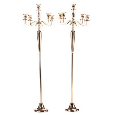 Pair of Brass-Tone Metal Five-Light Candelabra
