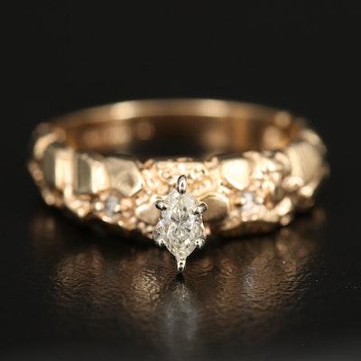 14K Diamond Nugget Style Ring