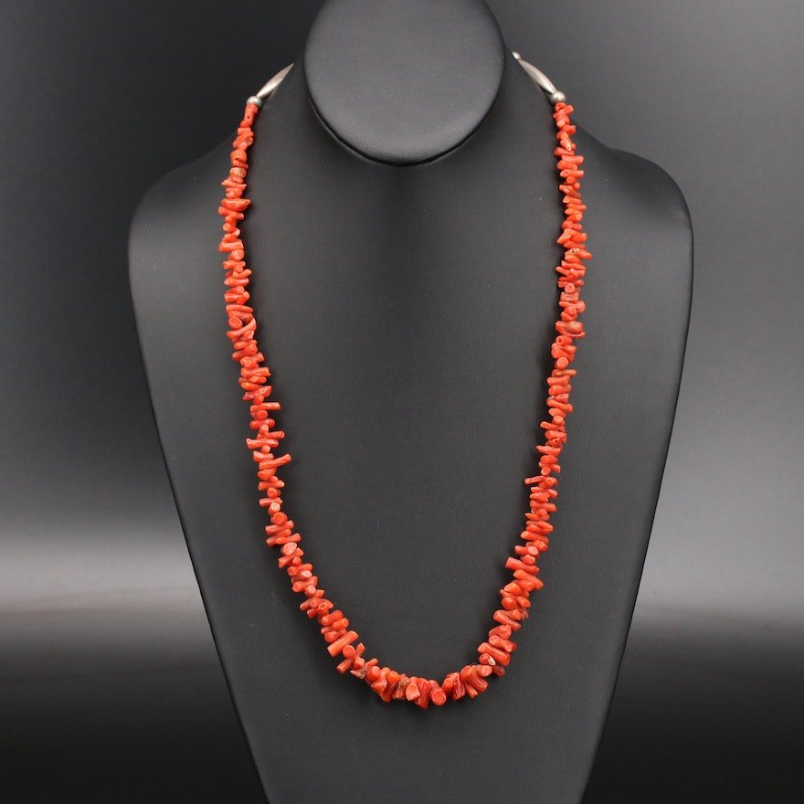 Southwestern Style Sterling Coral Strand Necklace