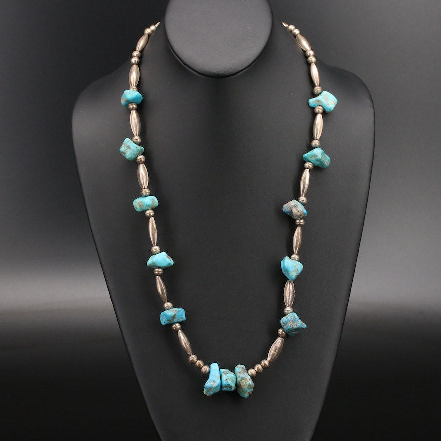 Southwestern Style Sterling Turquoise Necklace