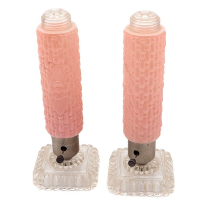 Art Deco Pink Frosted Glass Torpedo Boudoir Lamps, Early to Mid 20th Century