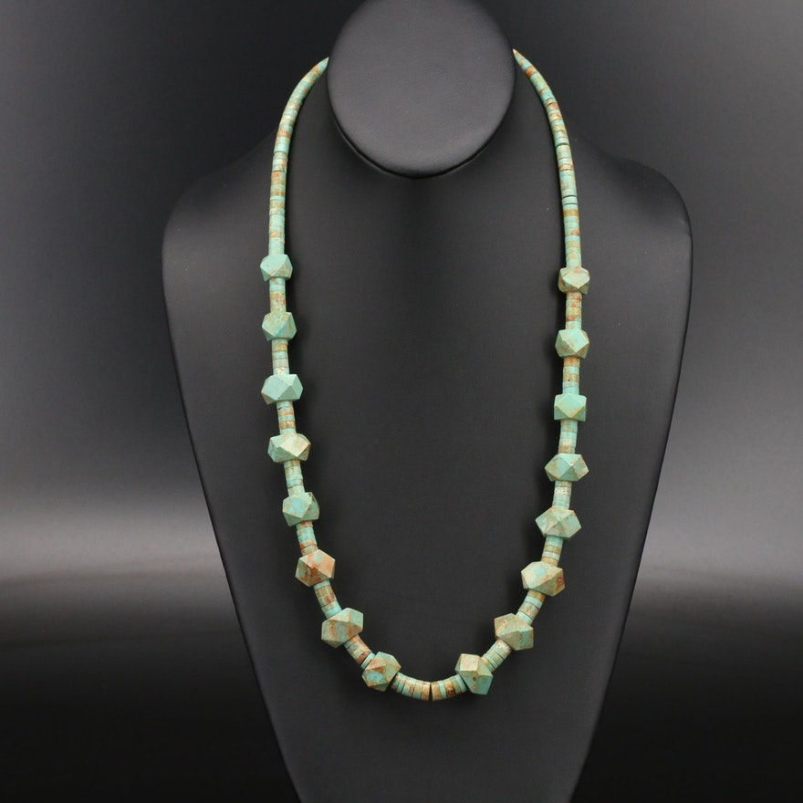 Southwestern Turquoise Necklace with Sterling Clasp