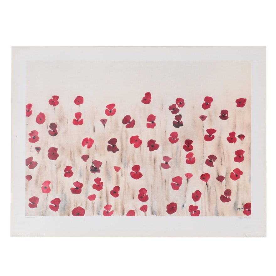 """Offset Lithograph After Simon Fairless """"Poppy Profusion,"""" 21st Century"""