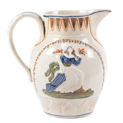 English Pratt Ware Ceramic Pitcher, Late 18th to Early 19th Century