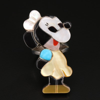 Paula Leekity Zuni Sterling Mother of Pearl and Black Onyx Mouse Ring