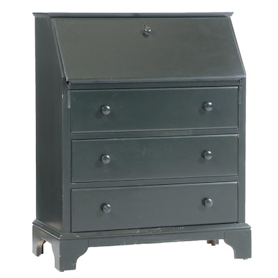 Colonial Style Painted Wood Slant-Front Desk, Mid to Late 20th Century