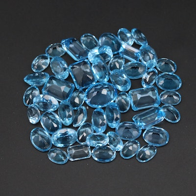 Loose 44.49 CTW Faceted Swiss Blue Topazes
