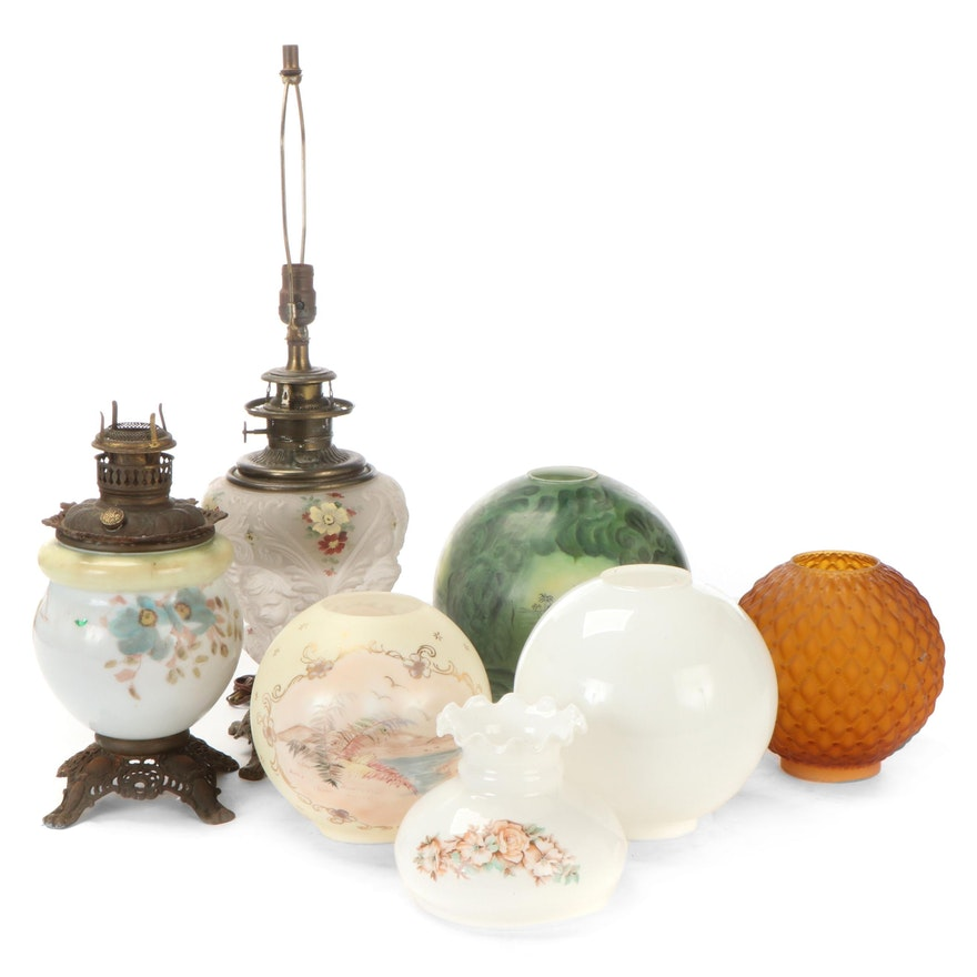 Assorted Glass Globe Shades with Kerosene Lamp and Electric Lamp