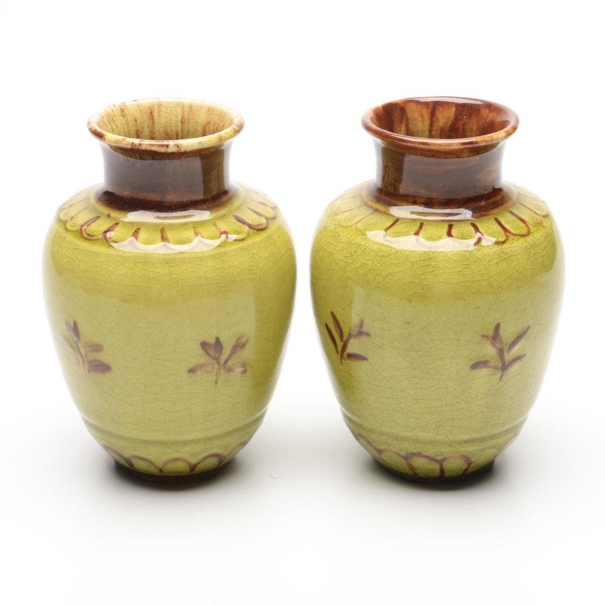 Rookwood Pottery Hand-Painted Glazed Ceramic Vases, Mid-20th Century