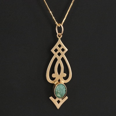 Signed Arts & Crafts 14K Turquoise Pendant Necklace