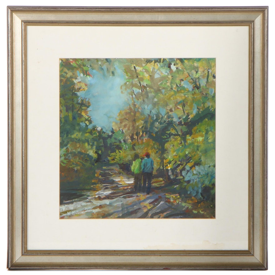 K. Holzer Gouache Painting of Figures in a Park, Late 20th Century