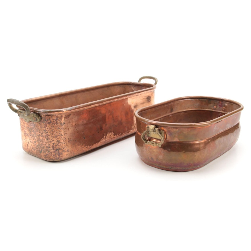 Handcrafted Copper Trough Planters with Brass Handles