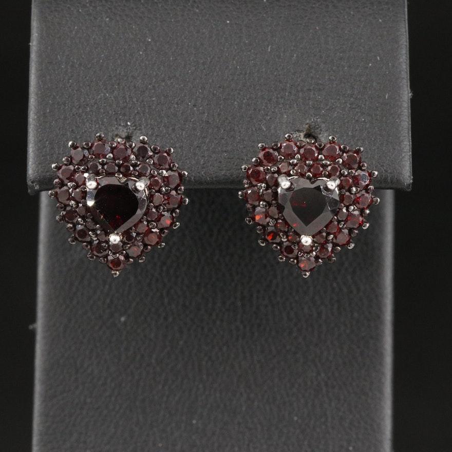 Sterling Garnet Heart Earrings