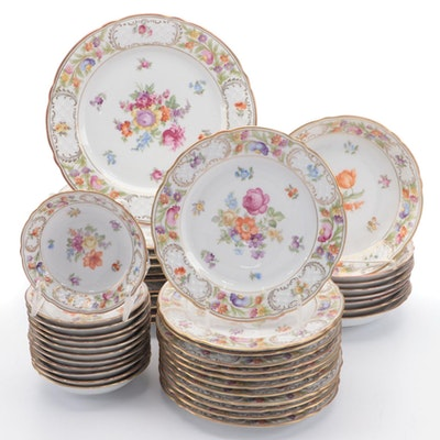 "Schumann Arzberg ""Dresden Flowers"" Porcelain Dinnerware, Early 20th C."