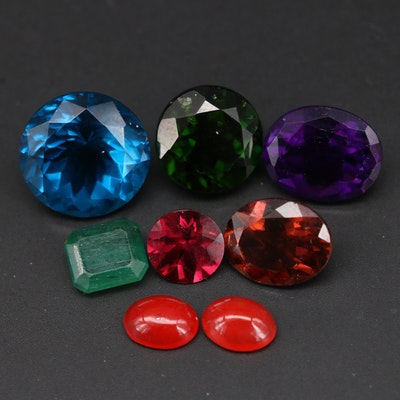 Loose Mixed Cut Emeralds, Tourmaline and Additional Gemstones