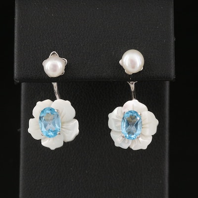Sterling Pearl Stud with Flower Mother of Pearl and Topaz Jacket