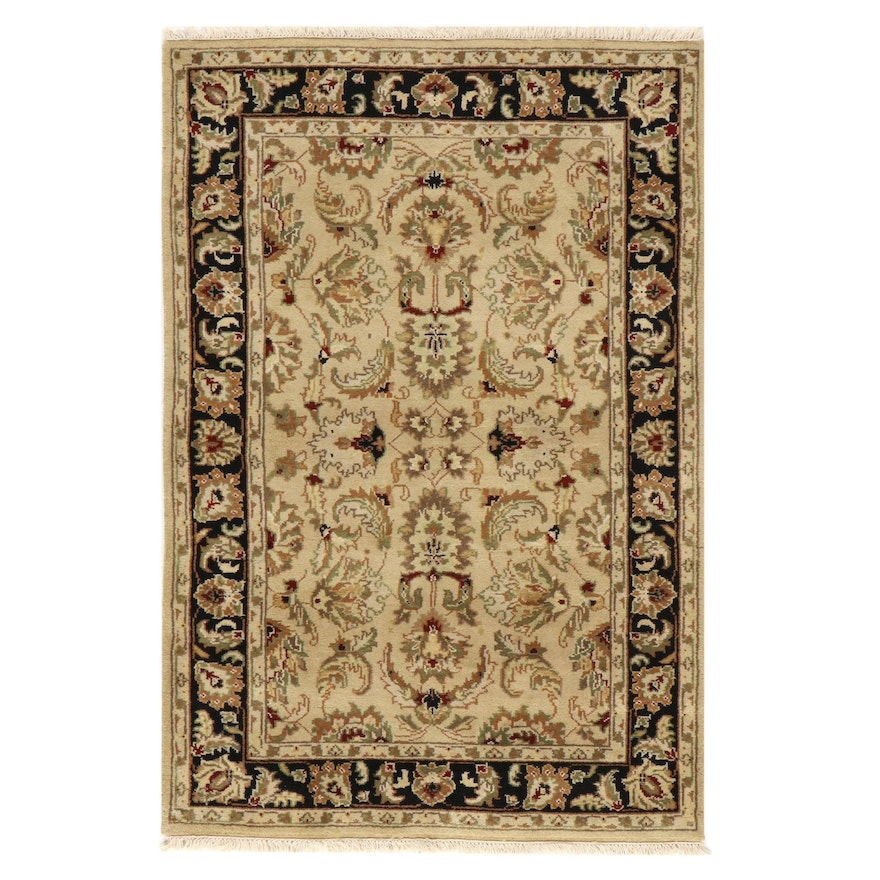 4' x 6'3 Hand-Knotted Indo-Turkish Oushak Rug, 2010s
