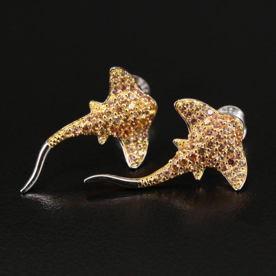 Sterling Sapphire Eagle Ray Earrings