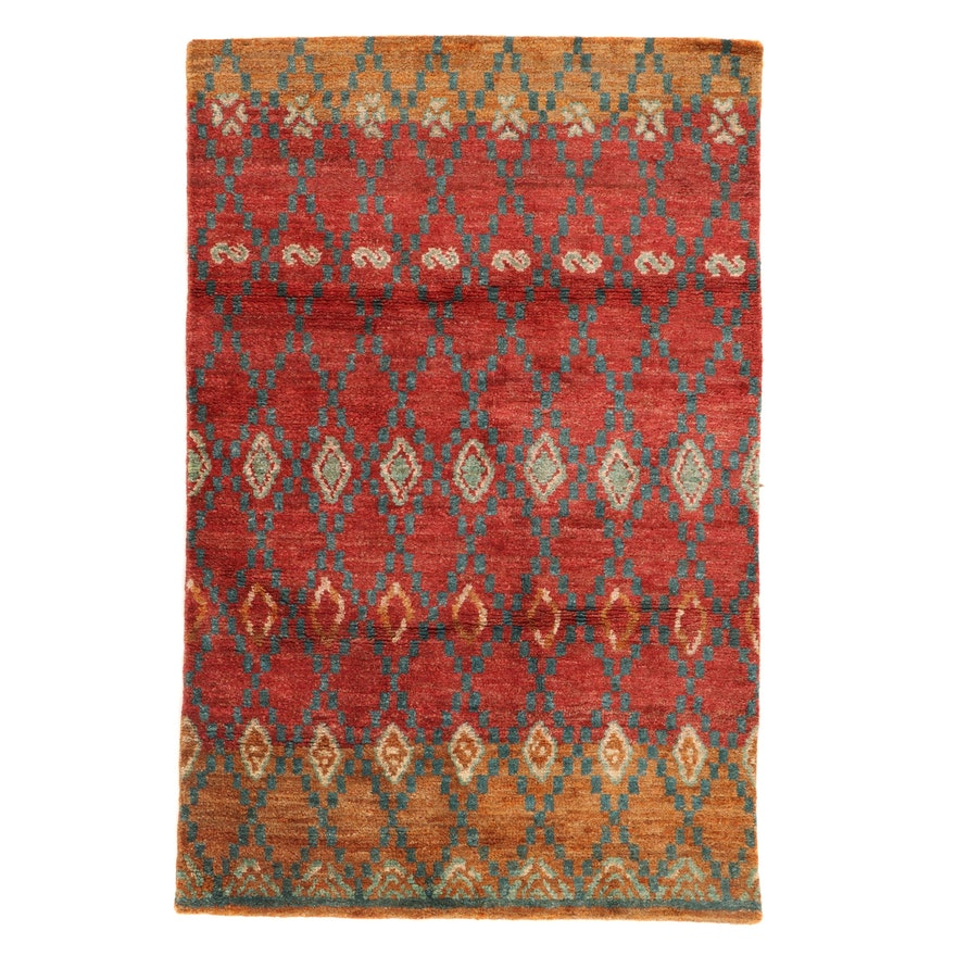 5'3 x 8' Hand-Knotted Indo-Turkish Oushak Rug, 2010s