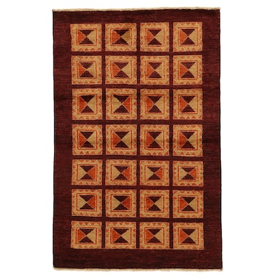 4' x 6'4 Hand-Knotted Indo-Persian Gabbeh Rug, 2010s