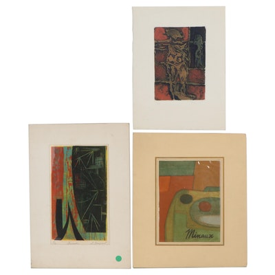 Abstract Lithograph, Linocut, and Etching With Aquatint, Mid-20th Century