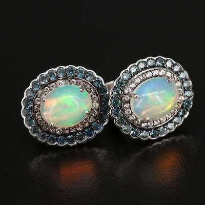 Sterling Opal, Sapphire and Gemstone Double Halo Earrings