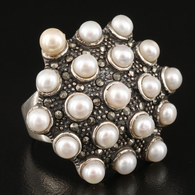 Sterling Pearl and Marcasite Ring