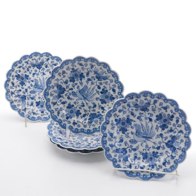Chinese Porcelain Blue and White Scalloped Edge Plates