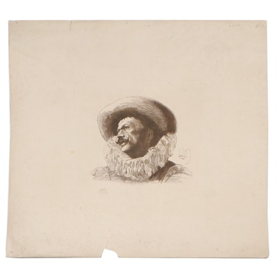 Portrait Engraving After Alexandre Louis Leloir, Early 20th Century