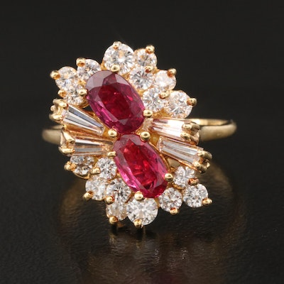 18K Ruby and 1.04 CTW Diamond Cluster Ring