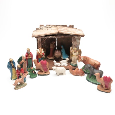 Christmas Nativity Ceramic Figurines with Wooden Stable